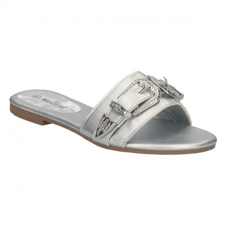 Papuci femei, moderni, cu catarama decor