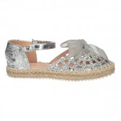 Pantofi de vara, argintii, pentru fetite