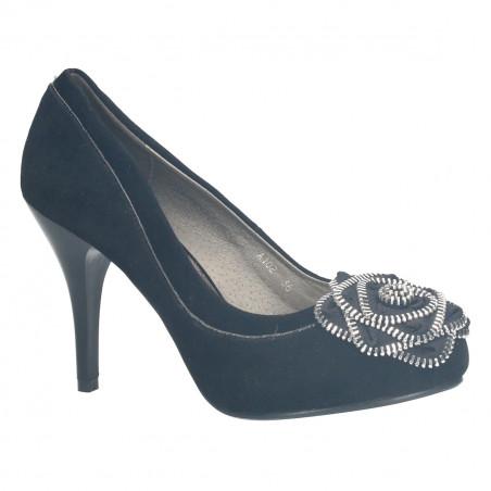 Pantofi de gala, din imitatie de velur, cu ornament metalic