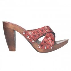 Saboti dama, rosii, cu talpa imitatie de lemn