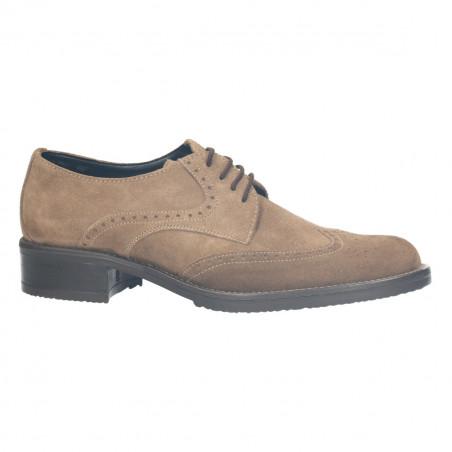 Pantofi dama, stil Oxford, culoarea gri, toc mic