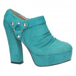 Pantofi femei, extravaganti, verzi, imitatie velur