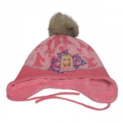 Caciula roz, de iarna, cu Barbie