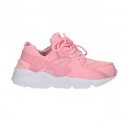 Sneakers roz, piele eco, textil, talpa groasa