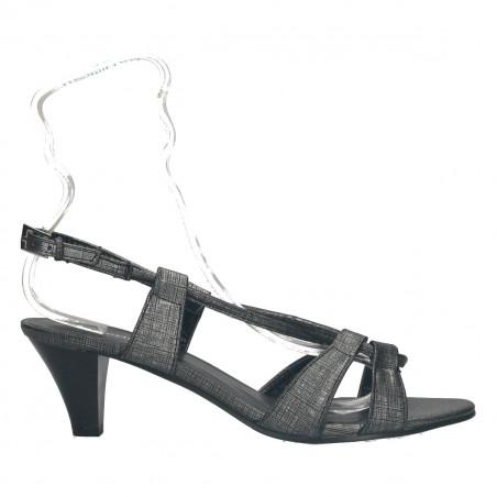 Sandale de dama, cu toc mediu, gri metalizat