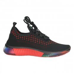 Pantofi sport, cu tricot, negri, femei