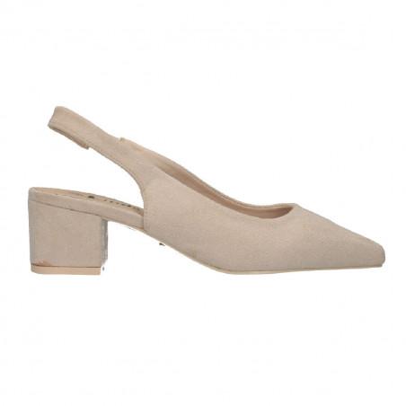 Pantofi dama, trendy, bej, toc mediu