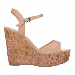 Sandale roz, platforma inalta, florala