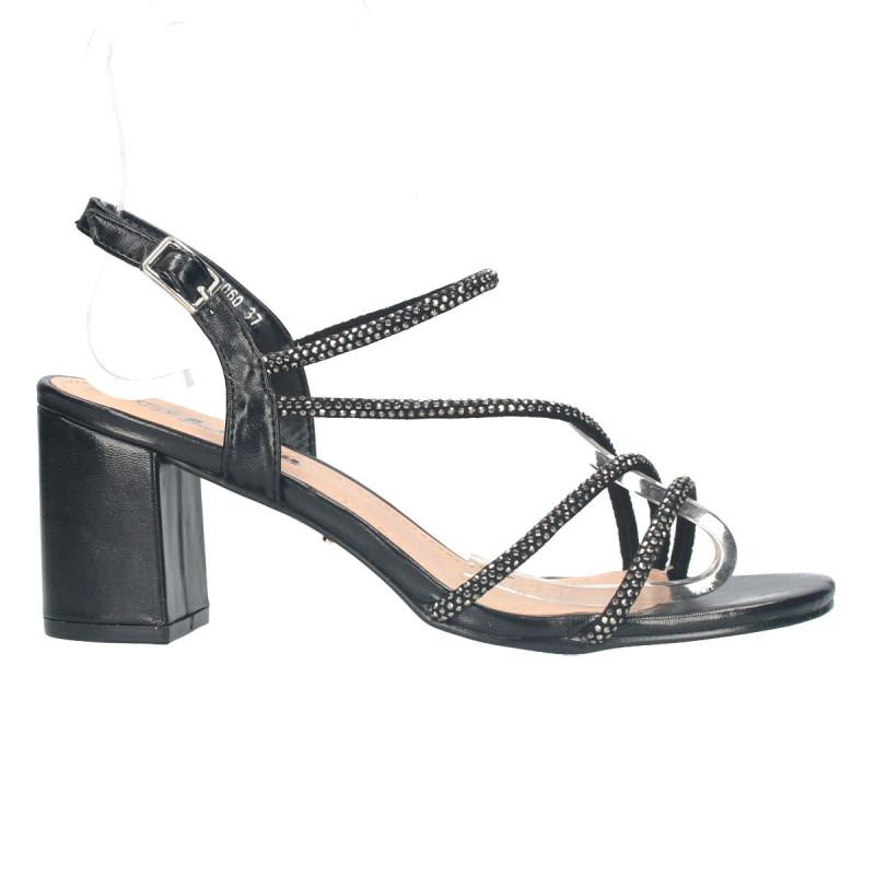 Sandale negre, de gala, cu strasuri