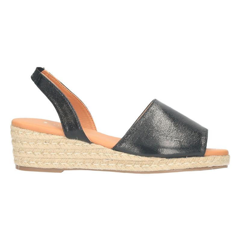 Sandale casual, negre, talpa canepa