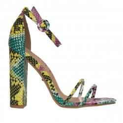 Sandale trendy, toc masiv, imprimeu snake