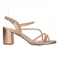 Sandale glamour, auriu antic, toc mediu