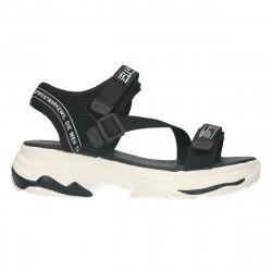 Sandale femei, sport, negre, talpa alba