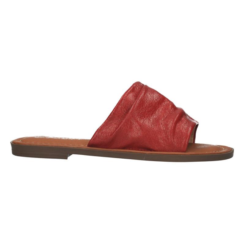 Papuci rosii, stil vintage, pentru femei