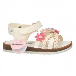 Sandale albe, copii, decor flori