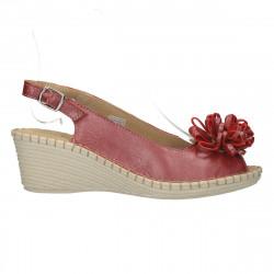 Sandale chic, bordo, piele, cu platforma