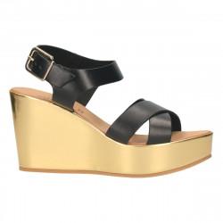 Sandale fashion, cu platforma aurie