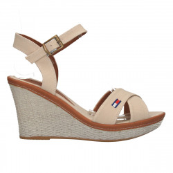 Sandale bej, material textil, platforma medie