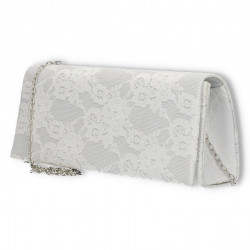 Clutch alb, dantela, stil elegant