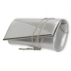 Clutch argintiu, cu margine metalica