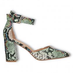 Pantofi de vara, cu imprimeu piele de sarpe, verzi