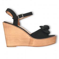 Sandale negre, platforma inalta