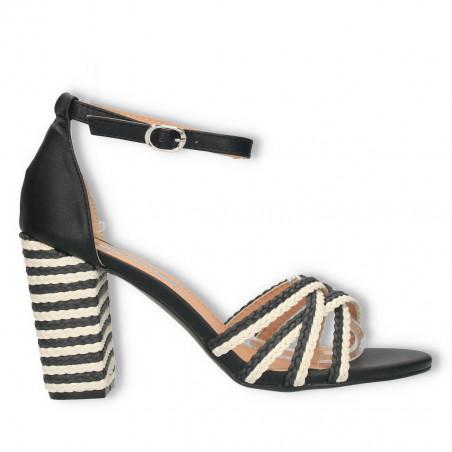 Sandale moderne, cu toc masiv, combinatie de culori negru cu alb