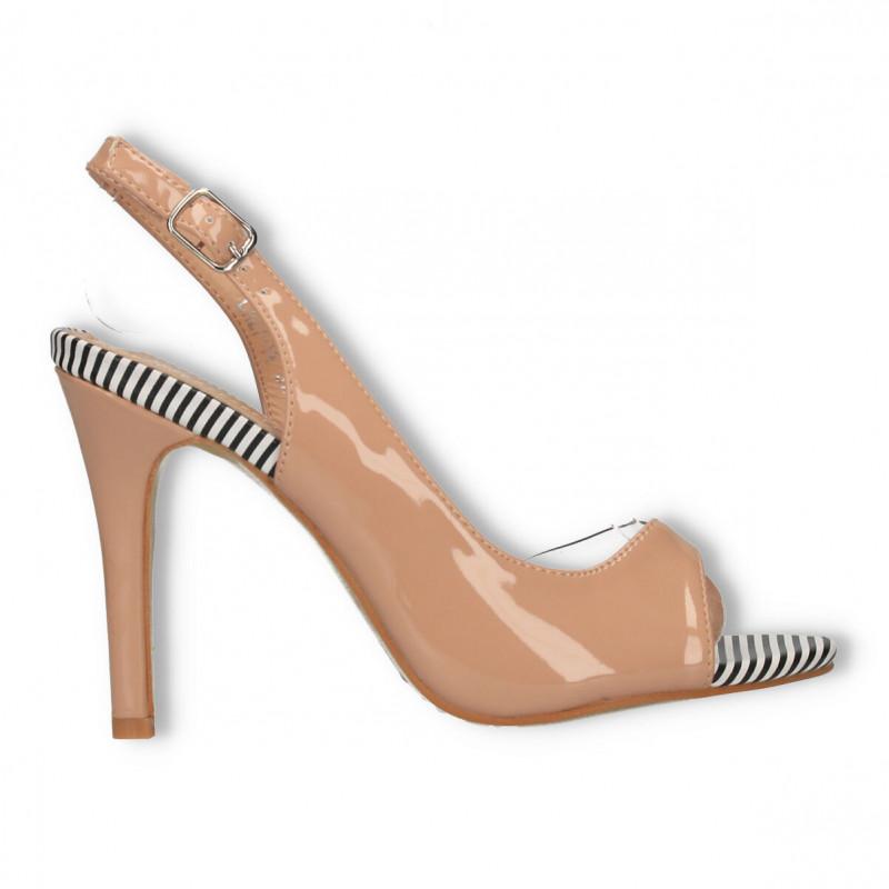 Sandale transparente bej, toc inalt