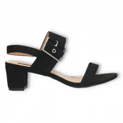Sandale negre, toc mediu, velur eco