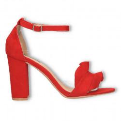 Sandale rosii, elegante, cu volanase