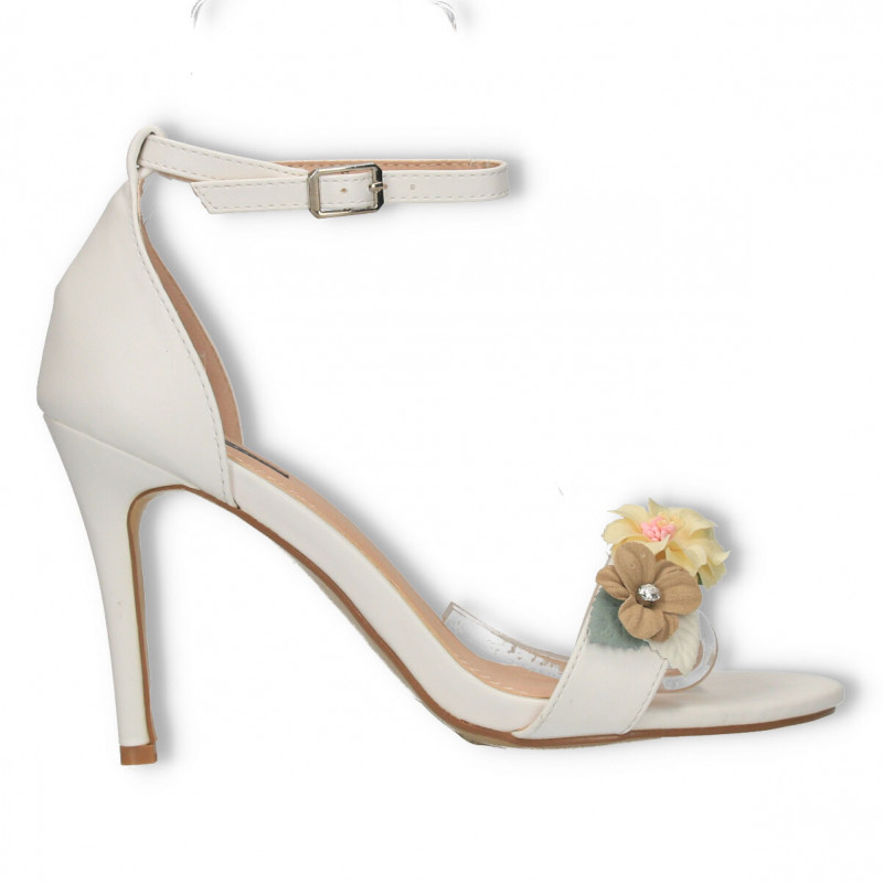 Sandale cu flori colorate, toc inalt