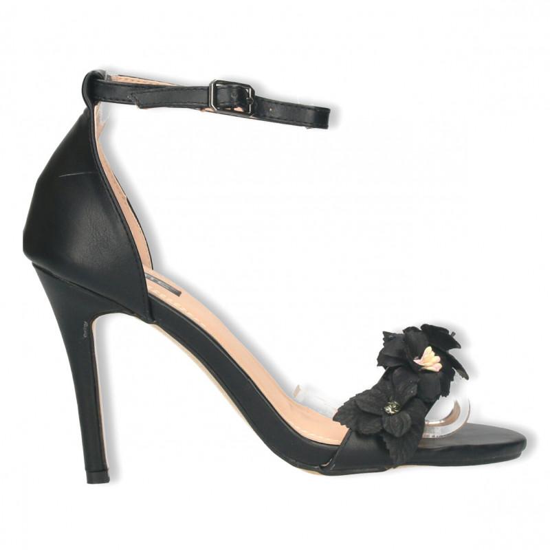 Sandale negre simple, cu decor flori