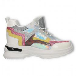 Sneakers talpa inalta, cu gliter si paiete