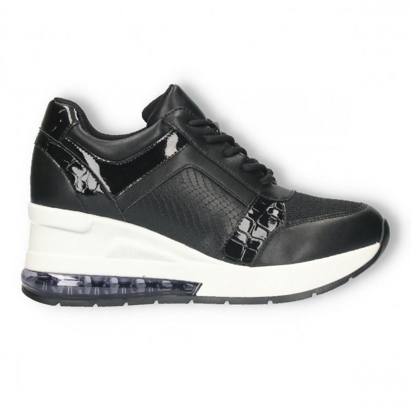 Sneakers dama, negri, talpa inalta