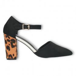 Pantofi de vara, animal print, toc mediu