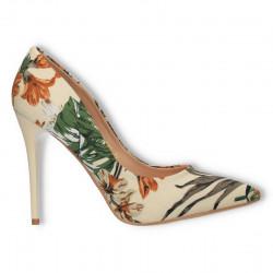 Pantofi florali, stiletto, bej floral