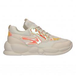 Sneakers albi, de dama, talpa groasa