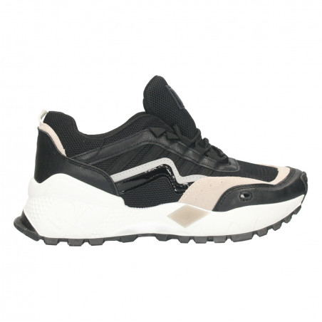 Sneakers negri, talpa alba, pentru femei