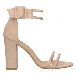 Sandale dama, bej, insertii transparente