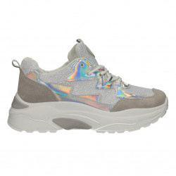 Sneakers dama, alb cu argintiu