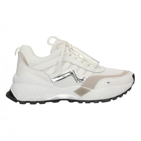 Sneakers dama, albi, talpa inalta