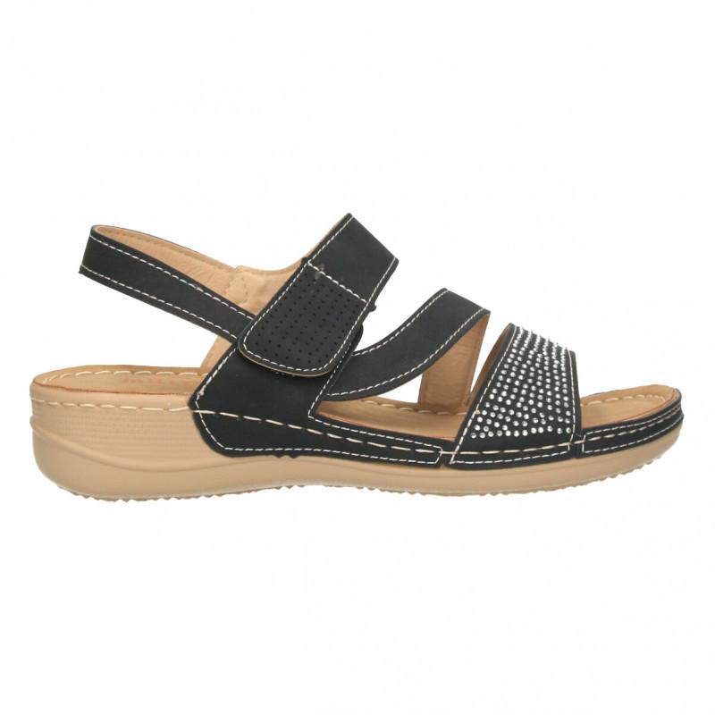Sandale negre, stil clasic, decorate
