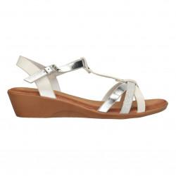 Sandale dama, stil casual, alb cu argintiu