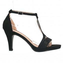 Sandale negre, strasuri, toc mediu inalt