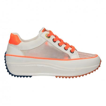 Sneakers talpa groasa, alb cu oranj