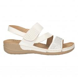 Sandale albe cu strasuri, stil casual