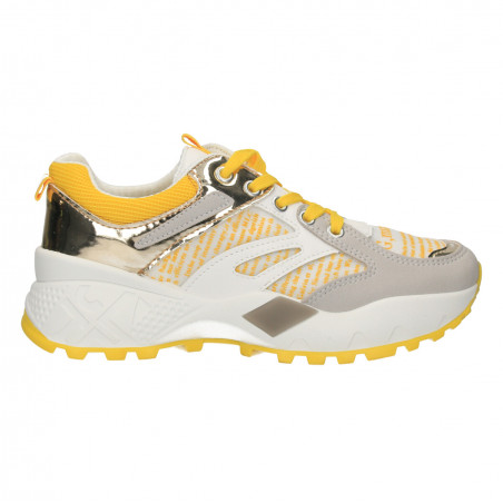 Sneakers dama, alb cu galben, stil urban