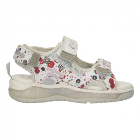 Sandale albe, cu cirese, pentru fete