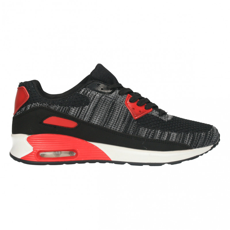 Pantofi sport barbati, negru cu rosu