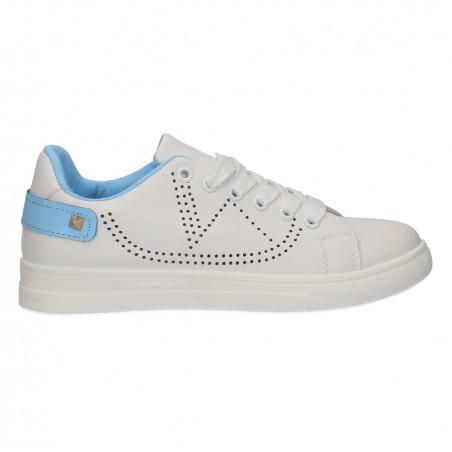 Sneakers albi, cu perforatii, pentru femei